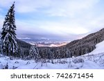 night over the winter mountains ...   Shutterstock . vector #742671454