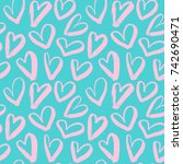 brush drawing pink hearts big... | Shutterstock .eps vector #742690471