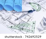 architectural blueprints and... | Shutterstock . vector #742692529