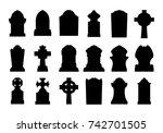 set of gravestone silhouette | Shutterstock .eps vector #742701505