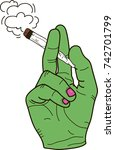 hand with weed | Shutterstock .eps vector #742701799