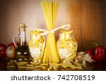 pasta in the jar  | Shutterstock . vector #742708519