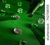 conceptual beer background.... | Shutterstock . vector #742708555