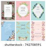 wedding invitation card... | Shutterstock .eps vector #742708591