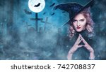 beautiful woman witch in the... | Shutterstock . vector #742708837