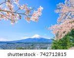 mount fuji with cherry blossom | Shutterstock . vector #742712815