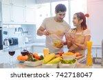 couple lover enjoy together... | Shutterstock . vector #742718047