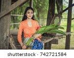 beautiful balinese women in... | Shutterstock . vector #742721584