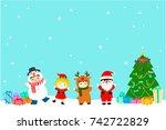 joyful kids with christmas...   Shutterstock .eps vector #742722829