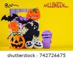 halloween pumpkin with sweets... | Shutterstock . vector #742726675