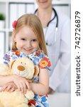 doctor and patient in hospital. ...   Shutterstock . vector #742726879