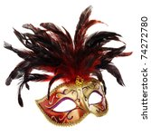 red and golden venetian mask ...