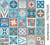 trendy geometric set of ceramic ... | Shutterstock .eps vector #742750135