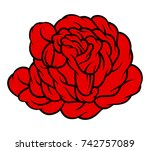 red rose isolated on white... | Shutterstock .eps vector #742757089