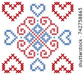 romanian embroidery dragobete   ... | Shutterstock .eps vector #742758865