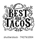 best tacos hand drawn... | Shutterstock .eps vector #742761004