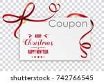 christmas coupon card on the... | Shutterstock .eps vector #742766545