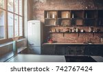 image of light wooden kitchen... | Shutterstock . vector #742767424
