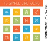 set of 16 relax outline icons... | Shutterstock .eps vector #742767451