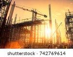 silhouette civil site engineer...   Shutterstock . vector #742769614