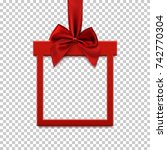 square banner in form of  gift... | Shutterstock .eps vector #742770304