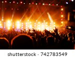 silhouettes of concert crowd... | Shutterstock . vector #742783549