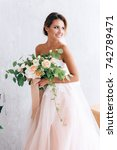 beautiful bride in a luxurious... | Shutterstock . vector #742789471