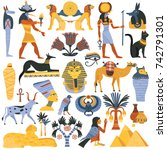 set of ancient egyptian... | Shutterstock .eps vector #742791301