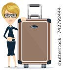 woman with suitcase on white... | Shutterstock .eps vector #742792444