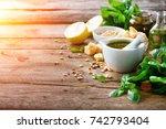 ingredients for homemade pesto  ... | Shutterstock . vector #742793404