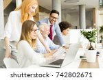 view of business people around  ... | Shutterstock . vector #742802671