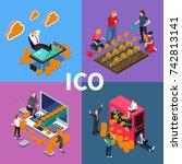 blockchain ico isometric... | Shutterstock .eps vector #742813141