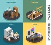 artisan professions 2x2 design...   Shutterstock .eps vector #742813261