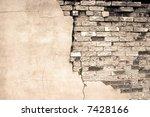 Detail shot of an old brick wall - stock photo