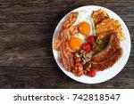 full english breakfast   bean ...   Shutterstock . vector #742818547
