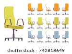 office chair interior set.... | Shutterstock .eps vector #742818649
