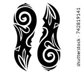 Tattoo tribal vector design. Simple logo. Individual designer isolated element for decorating the body of women, men and girls arm, leg and other body parts. Abstract illustration. | Shutterstock vector #742819141