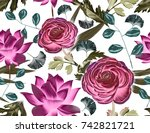 seamless tropical flower  plant ... | Shutterstock . vector #742821721