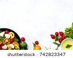 cooking background  ingredients ... | Shutterstock . vector #742823347