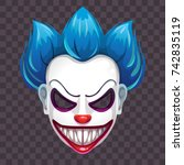 scary evil clown mask on the... | Shutterstock .eps vector #742835119