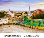 park guell in  barcelona  spain.... | Shutterstock . vector #742838641