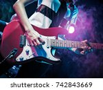 performance of the rock band.... | Shutterstock . vector #742843669