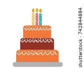 birthday cake with candles... | Shutterstock .eps vector #742844884