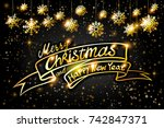 gold merry christmas and happy... | Shutterstock .eps vector #742847371