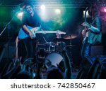 performance of the rock band....   Shutterstock . vector #742850467