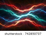 fire and ice plasma lightning ...   Shutterstock . vector #742850737