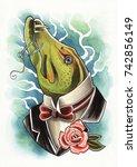 watercolor artwork on paper  mr ... | Shutterstock . vector #742856149