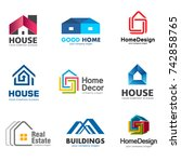 real estate and building logo... | Shutterstock .eps vector #742858765