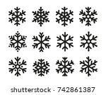 snowflakes icon set  linear... | Shutterstock .eps vector #742861387