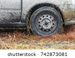 the wheel of the car after a... | Shutterstock . vector #742873081